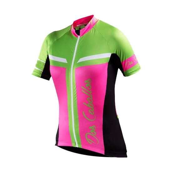 Dos Caballos Mireya Women Short Sleeve Bike Shirt pink blue black white green. Top performance