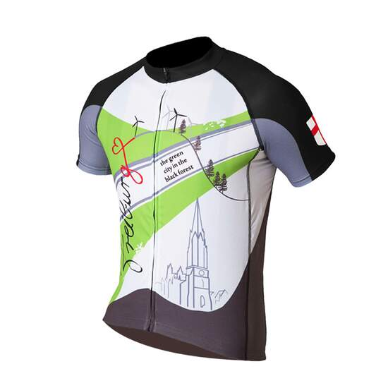 Dos Caballos Freiburg women short sleeve bike shirt green white. Modern design